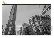 New York Ny Flatiron Building Fifth Avenue Black And White Carry-all Pouch