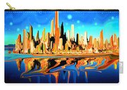 New York Skyline Blue Orange - Modern Art Carry-all Pouch