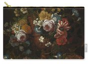 Nicolaes Van Veerendael Antwerp 1640 - 1691 Still Life Of Roses, Carnations And Other Flowers Carry-all Pouch