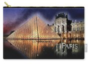 Night Glow Of The Louvre Museum In Paris Text Paris Carry-all Pouch