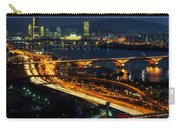 Night Traffic Over Han River In Seoul Carry-all Pouch