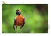 North American Robin In Song Carry-all Pouch