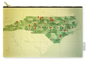 North Carolina Map Square Cities Straight Pin Vintage Carry-all Pouch