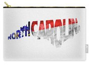 North Carolina Typographic Map Flag Carry-all Pouch by Inspirowl Design