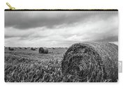 Nostalgia - Hay Bales In Field In Black And White Carry-all Pouch