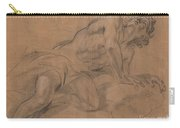 Nude Youth Leaning On A Cloud And Gazing Upward Carry-all Pouch