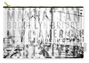 Nyc Brooklyn Bridge Typography No2 Carry-all Pouch by Melanie Viola