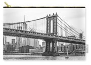 Nyc Manhattan Bridge In Black And White Carry-all Pouch