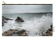 Ocean Water Crashing Againt Rocks With Cloudy Skies Carry-all Pouch