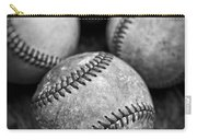 Old Baseballs In Black And White Carry-all Pouch by Edward Fielding
