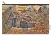 Old Farmhouse With Hay Stack In A Snow Capped Mountain Range With Tractor Tracks Gouged In The Soft  Carry-all Pouch