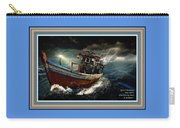 Old Fishing Boat In A Storm L A With Decorative Ornate Printed Frame. Carry-all Pouch