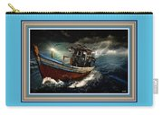 Old Fishing Boat In A Storm L B With Decorative Ornate Printed Frame. Carry-all Pouch