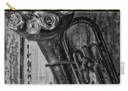 Old Horn And Roses On Door Black And White Carry-all Pouch