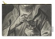 Old Jester With Cat, Alexander Voet II, After Jacob Jordaens I, 1662-1674 Carry-all Pouch