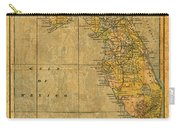 Old Map Of Florida Vintage Circa 1893 On Worn Distressed Parchment Carry-all Pouch