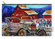Old Model T Car Red Barns Canadian Winter Landscapes Outdoor Hockey Rink Paintings Carole Spandau Carry-all Pouch