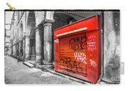 Old Newsstand Closed In Bologna Canvas - Technique Of Selective Color -  Black And White Only Red Carry-all Pouch