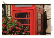 Old Red Telephone Box Or Booth Surrounded By Red Flowers In Toro Carry-all Pouch