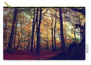 Old Tree Silhouette In Fall Woods Carry-all Pouch