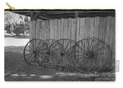 Old Wagon Wheels Black And White Carry-all Pouch
