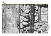 Old Wood Door Window And Stone In Black And White Carry-all Pouch