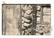 Old Wood Door Window And Stone In Sepia Black And White Carry-all Pouch