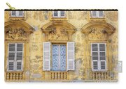 Old Yellow Building With Lace Curtain In Nice, France Carry-all Pouch