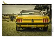 Old Yellow Mustang Rear View In Field Carry-all Pouch