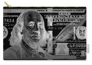 One Hundred Us Dollar Bill - $100 Usd In Silver On Black Carry-all Pouch