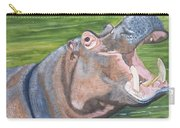 Open Mouthed Hippo On Wood Carry-all Pouch