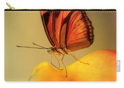 Orange And Black Butterfly Sitting On The Yellow Petal Carry-all Pouch