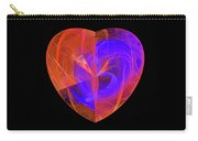 Orange And Blue Fractal Heart Carry-all Pouch