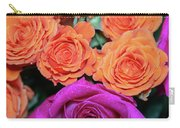 Orange And White With Pink Tip Roses Carry-all Pouch