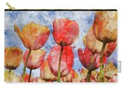 Orange And Yellow Tullips With Blue Sky Carry-all Pouch