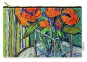Orange Bloom - Textured Impressionist Palette Knife Oil Painting Mona Edulesco Carry-all Pouch