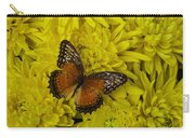 Orange Butterfly On Yellow Mums Carry-all Pouch
