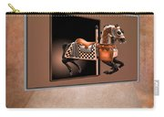 Orange Carousel Horse Left Panel 02 Textured Carry-all Pouch