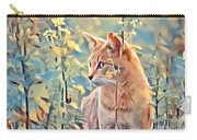 Orange Cat In Field Of Yellow Flowers Carry-all Pouch