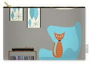 Orange Cat In Turquoise Egg Chair Carry-all Pouch