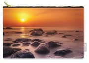 Orange Sunset Long Exposure Over Sea And Rocks Carry-all Pouch