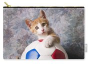 Orange Tabby Kitten With Soccer Ball Carry-all Pouch