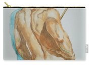 Original Watercolor Painting Art Male Nude Men On Paper #12-25-02 Carry-all Pouch