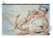 Original Watercolor Painting Artwork Sailor Male Nude Man Gay Interest On Paper #9-015 Carry-all Pouch