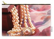 Ornate Box Carved And Pearl Necklace Detail Carry-all Pouch