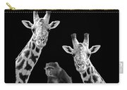 Our Wise Little Friend - Monkey And Giraffes In Black And White Carry-all Pouch
