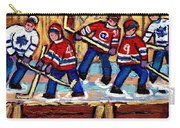 Pointe St Charles Hockey Rink Painting Leafs Vs Habs Quebec Winter Scene Hockey Art Carole Spandau Carry-all Pouch