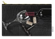 Overhead View Of Vintage Corkscrew With Red Wine Bottle And Glas Carry-all Pouch