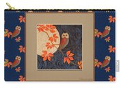 Owl And Moon On Midnight Blue Carry-all Pouch