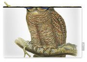 Owl Sitting On A Branch With Blue Glasses Carry-all Pouch